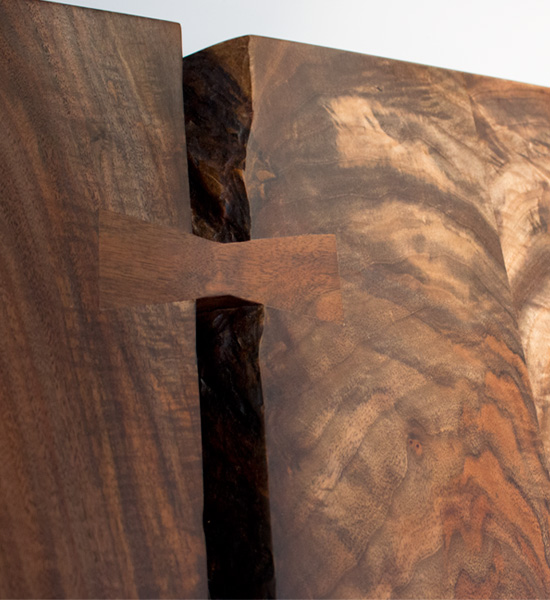 Live-Edge Western Walnut Dining Table with Butterflies detail