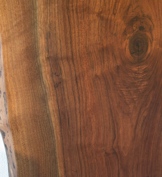 Live-Edge Western Walnut Dining Table Detail
