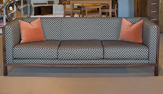 This Sofa Is Built In Eastern Walnut And Upholstered Robert Allen Collina Ripple Fabric Caviar It S A Delicate Feminine Pattern At First Glance