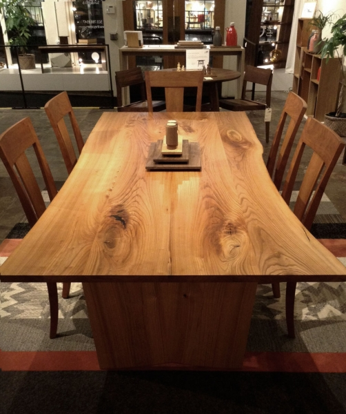 Elm Live Edge Dining Table with V-back Chairs