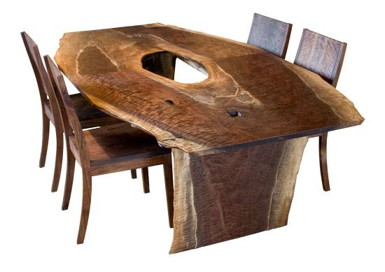 Fresh Floor Live Edge Dining Table on Quarter Sawn Oak Flooring