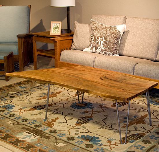Legs For Live Edge Coffee Table: Madrone Live Edge Coffee Table With Metal Base