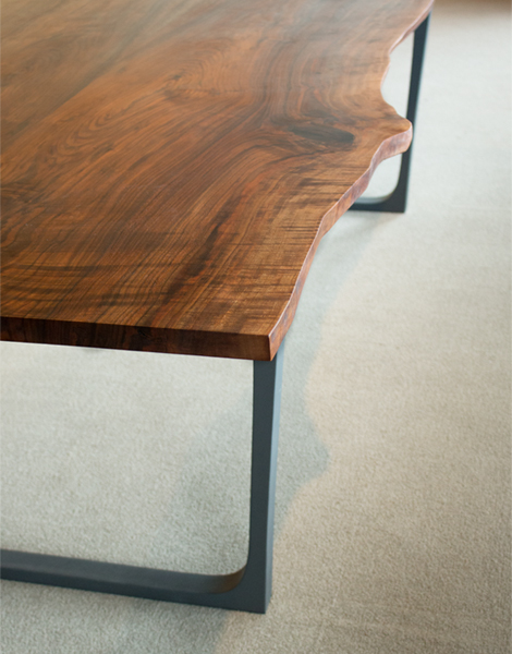 Detail of Live-Edge Dining Table in stock