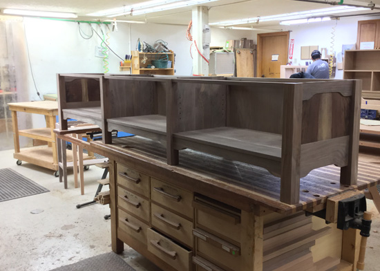 In the woodshop building custom cabinet