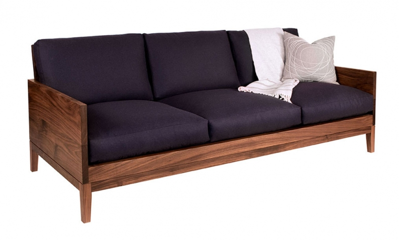 Handcrafted Clyde Sofa in Eastern Walnut with Eco Wool Navy