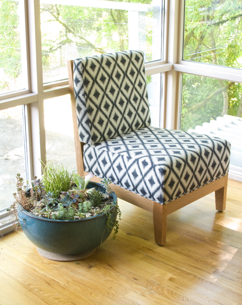 ... Are The Slipper Chairs In Cherry With Robert Allen Ikat Fret Fabric.  This Classic Chair Has A Small Footprint With Dimensions At 33d X 25w X 36h.