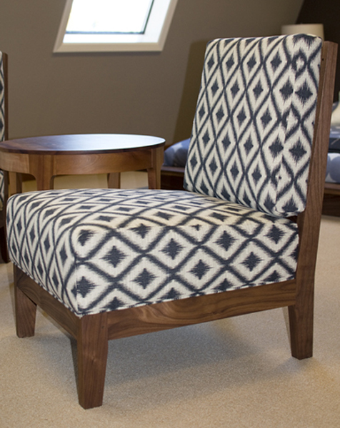 Fresh On The Floor Is Our Slipper Chair With An Eastern Walnut Frame And  Charcoal Ikat Fret Upholstery. The Simple Frame With Elegant Upholstery  Makes The ...