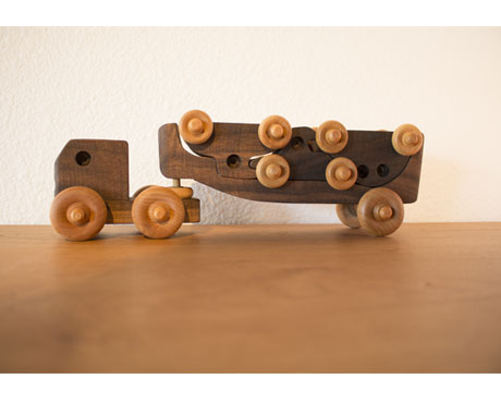 Transporter Wood Toy Truck with Cars