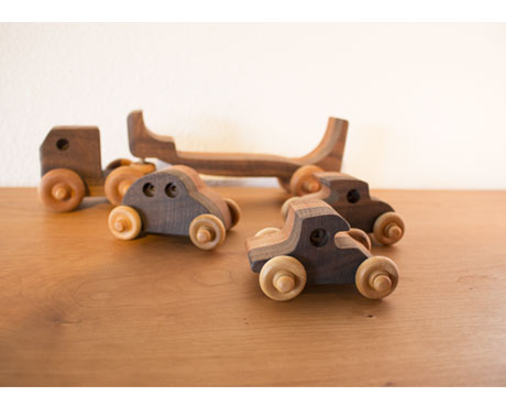 Transporter Wood Truck with Cars Handcrafte