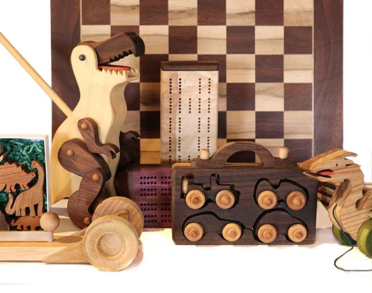Handcrafted wooden games and toys