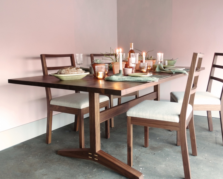 Hayden walnut dining set with Colorhouse pink