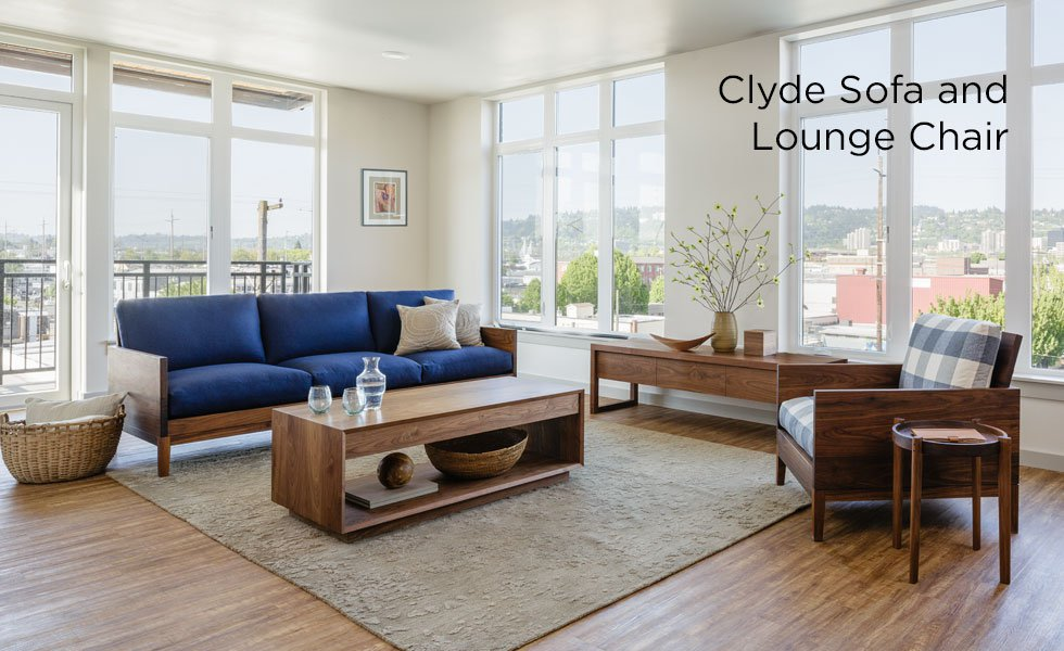 Clyde Walnut Sofa and Lounge Chair with Modern Coffee Table and Celilo Media Center
