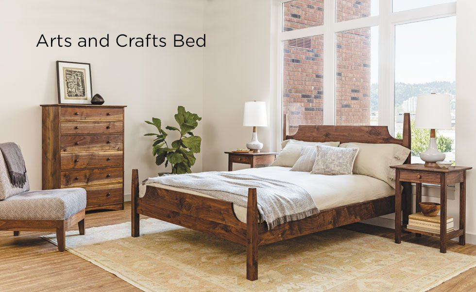 Arts and Crafts Bed in Western Walnut with Shaker nighstands, Joinery dresser, and Slipper chair
