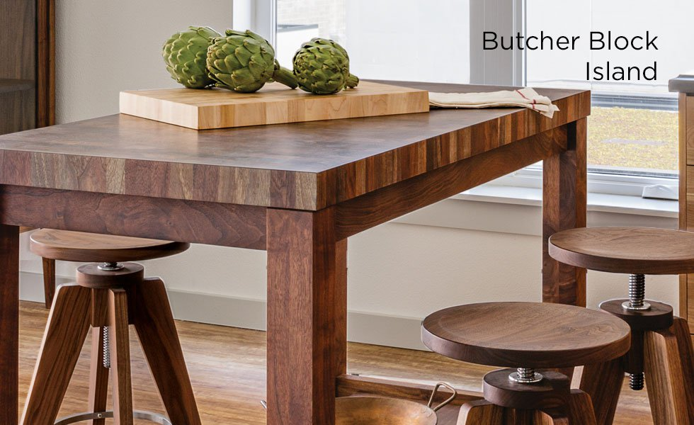 The Joinery Butcher Block Islands can be used for food preparation or double as a kitchen table. This lovely and versatile kitchen utility table adds warmth, character and storage space to any kitchen.