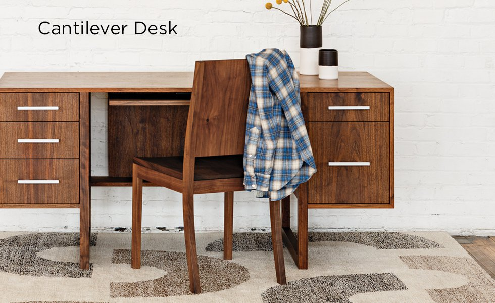 Cantilever Desk in Eastern Walnut with studio Chair