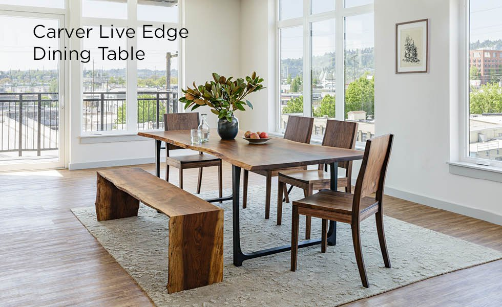 Carver Metal Base Live-Edge Dining Table shown with Studio Chairs and Live-Edge Bench