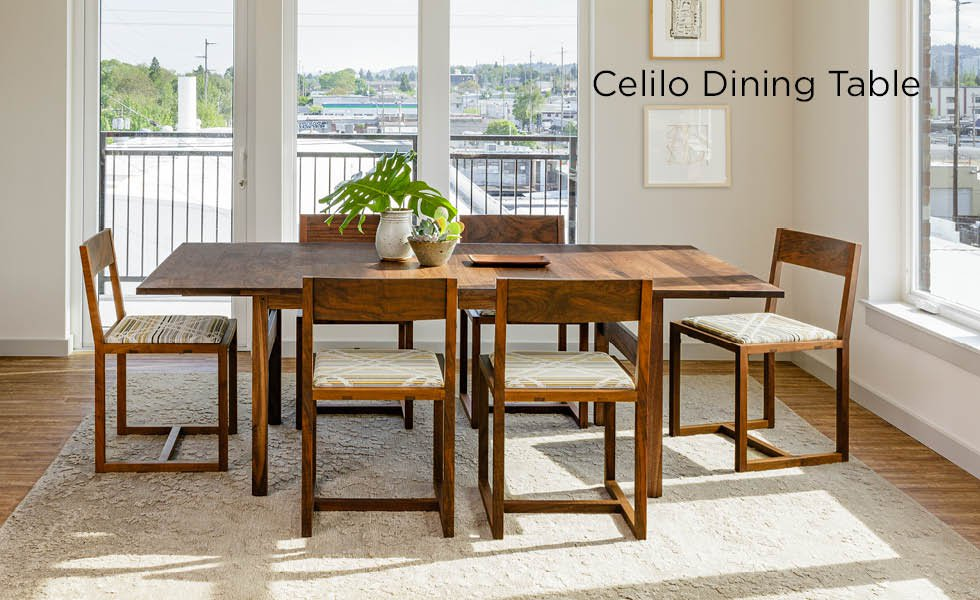 Celilo Extension Dining Table in Eastern Walnut with Celilo Dining Chair