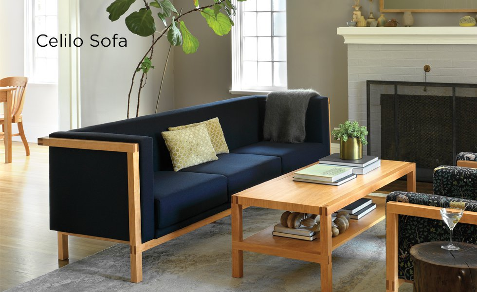 Celilo Sofa in Cherry with Celilo Coffee Table
