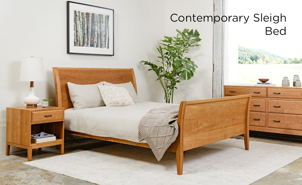 Contemporary Sleigh bed in Cherry