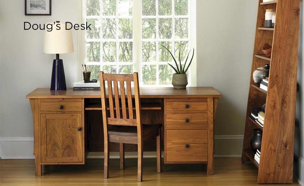 Doug Desk in Eastern Walnut with Arts and Crafts Chair and Nelson Bookcase