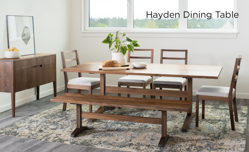 The Hayden Dining Table in Eastern Walnut with Hayden Dining Chairs, Bench, and Klamath Sideboard