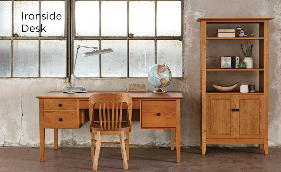 Ironside Desk in Cherry with Banjo Chair and Dunning Avocat bookcase