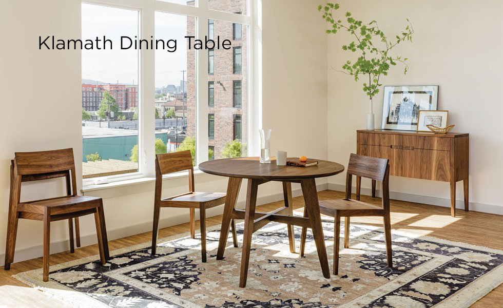 Klamath Dining Table shown with Klamath Dining Chairs and Klamath Sideboard in Eastern Walnut