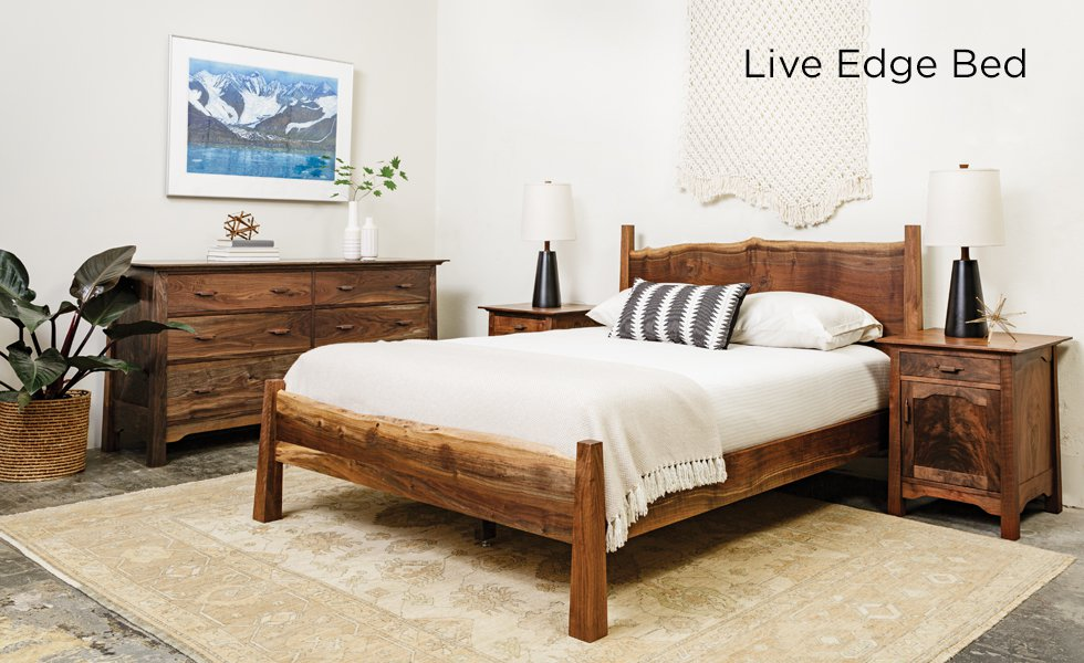 Live Edge Bed in Western Walnut with Pacific Nightstands, Pacific Dresser, and Macrame work by Holly Mueller Home