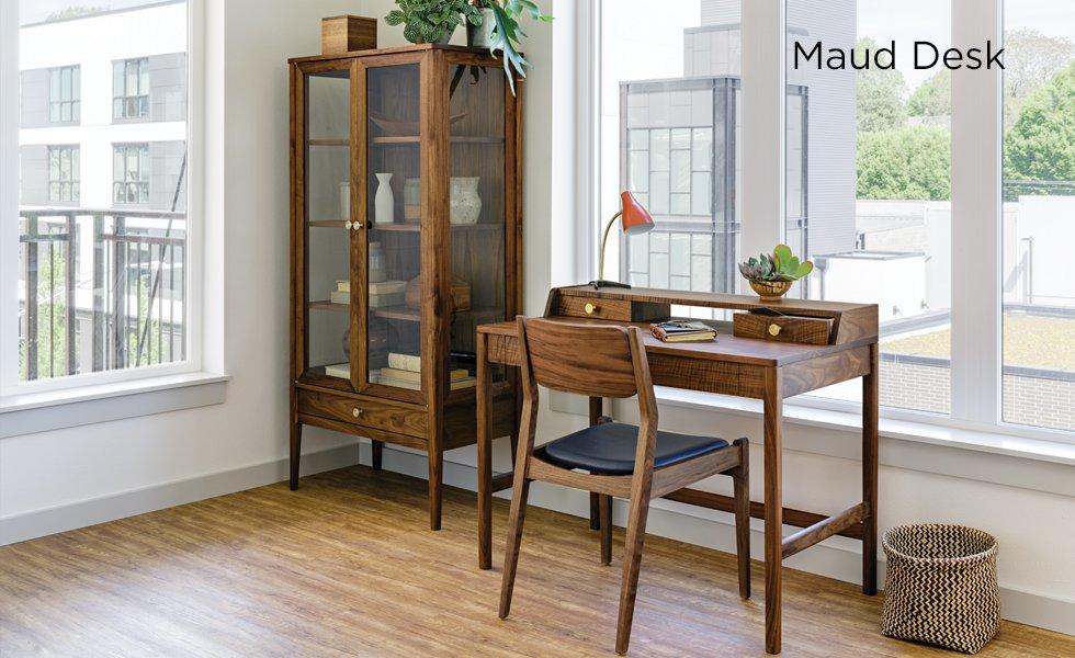 Maud Desk, Whitman Chair, and Whitman Curio in Eastern Walnut