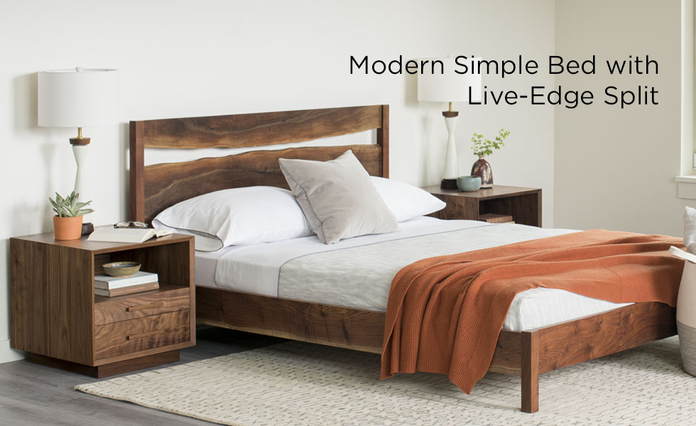 Modern Simple Bed with Live Edge Split displayed with Modern Nighstands in Eastern Walnut and Lume Home Lamps