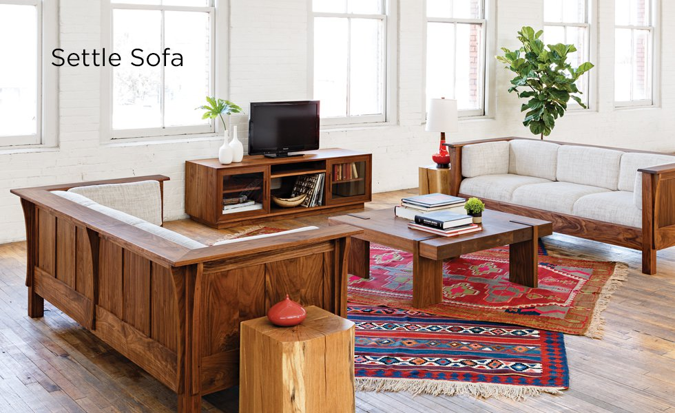 Walnut Mission Settle Sofa with Arcadia Coffee Table