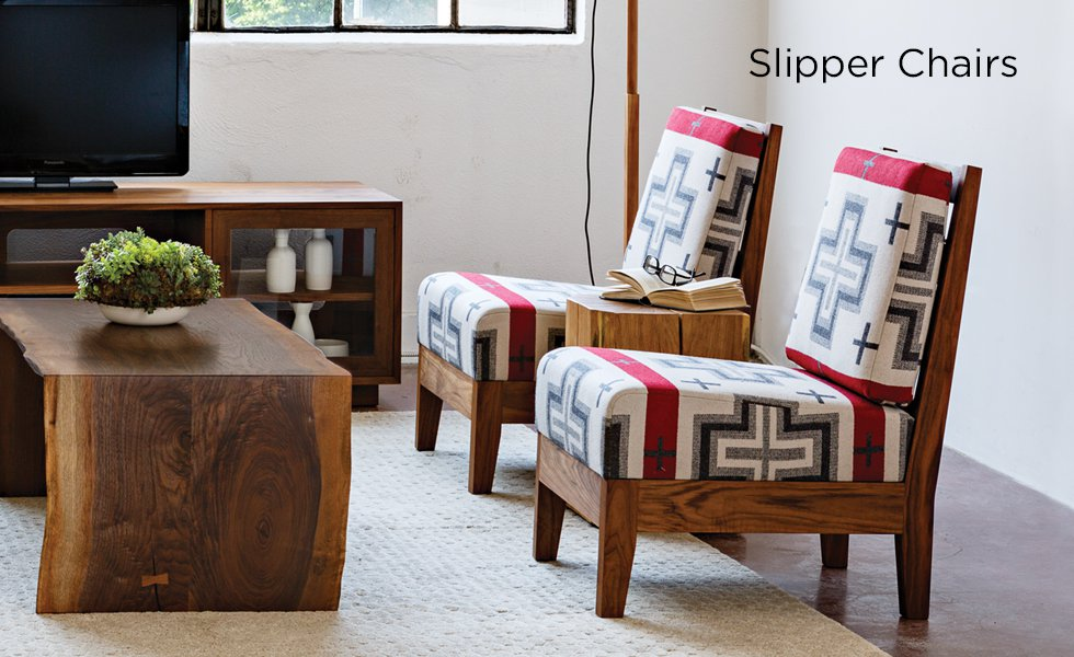 Slipper Lounge Chairs in Eastern Walnut with specialty Pendelton Fabric