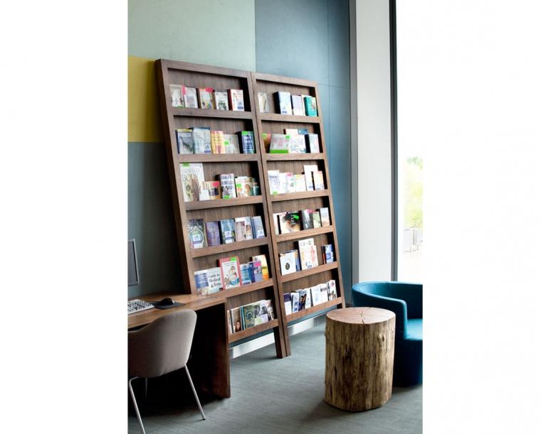 Leaning Magazine Rack in Eastern Walnut for Randall Children's Hospital