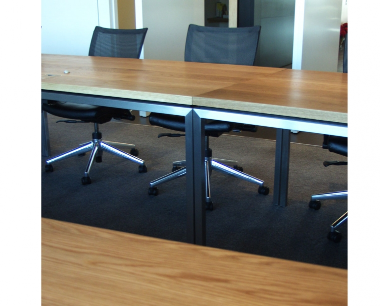 Detail of Autodesk Conference table made from Flat Sawn White Oak