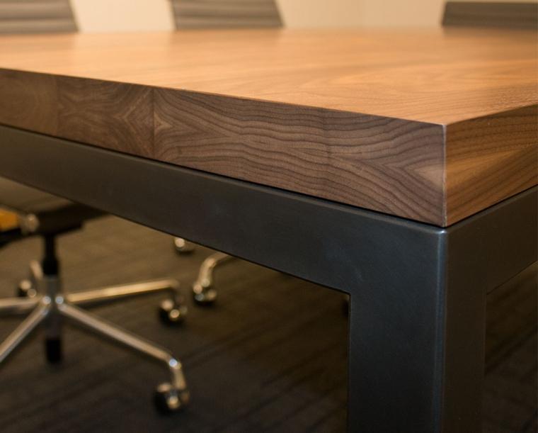 Detail of Parsons Metal Table in Eastern Walnut