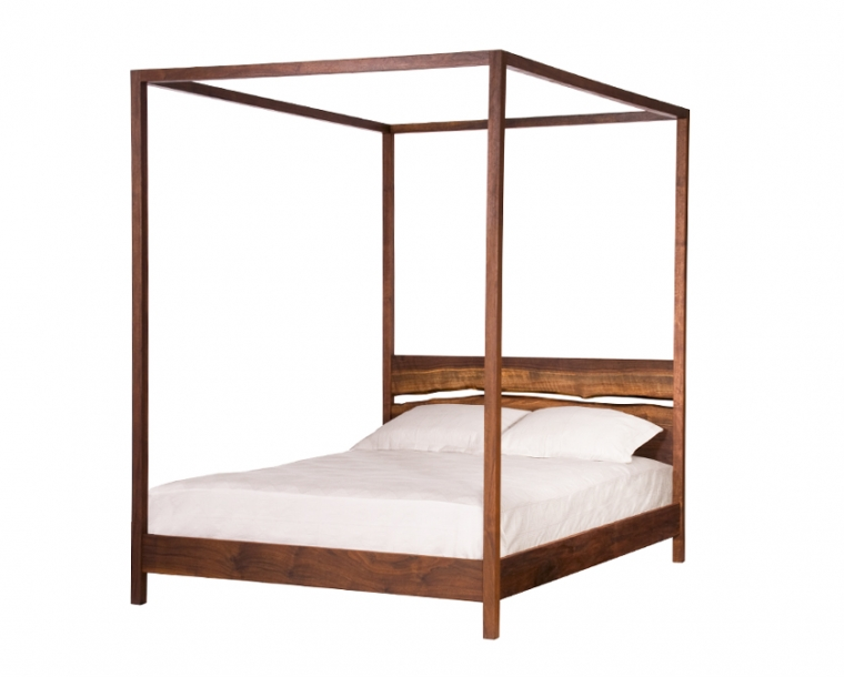 Queen Modern Pencil Post in Western Walnut with Live Edge Split Mattress Only