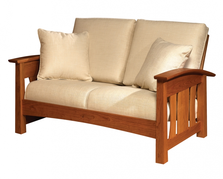 Pacific Loveseat in Cherry with COM Fabric