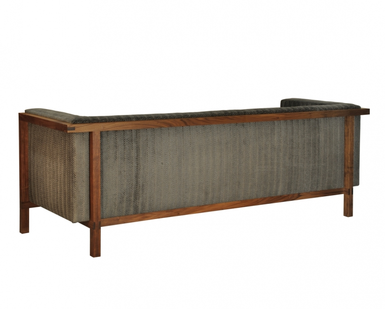 Celilo Sofa Back View in Eastern Walnut with COM Fabric