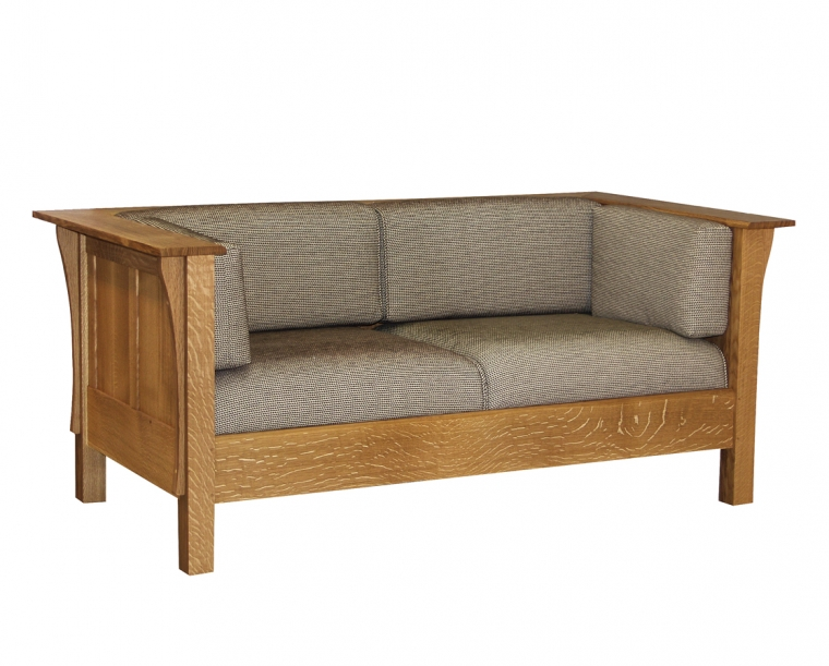 Settle Loveseat with All Panels in Quartered White Oak with COM Fabric