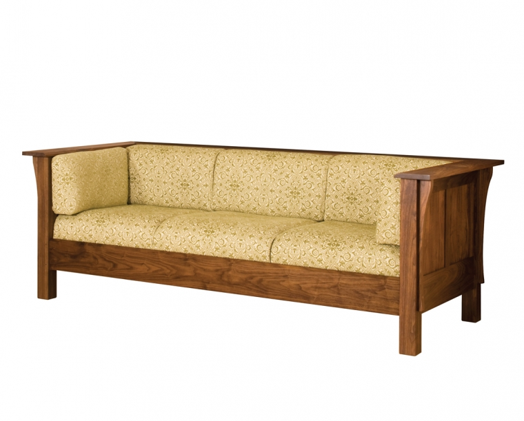 Settle Couch in Eastern Walnut with COM Fabric