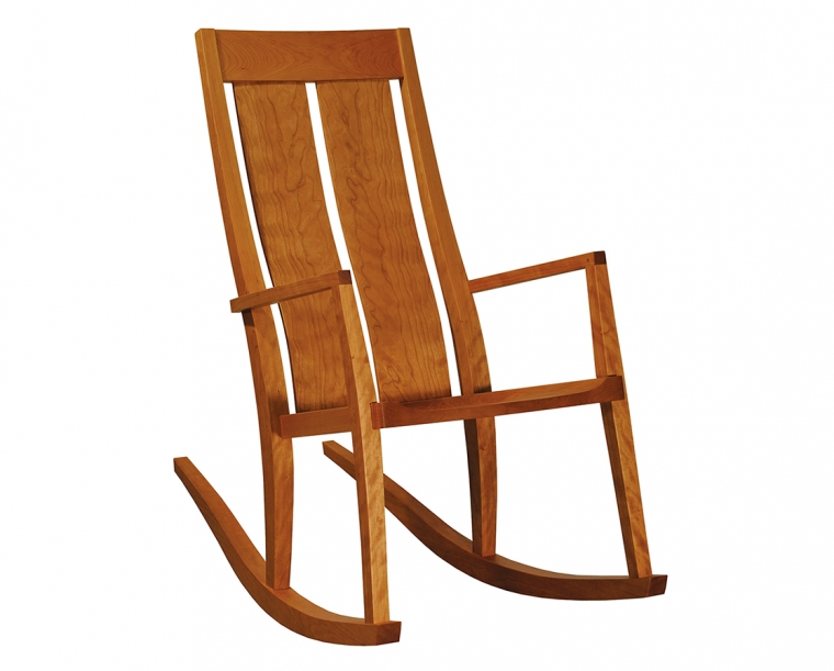 Leon's Rocker in Cherry with Wood Seat and Custom Arm