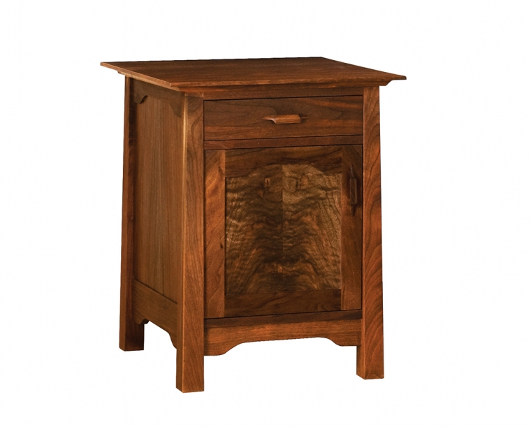 Pacific Nightstand in Western Walnut with Yoshinaga Pulls, Hinged Left
