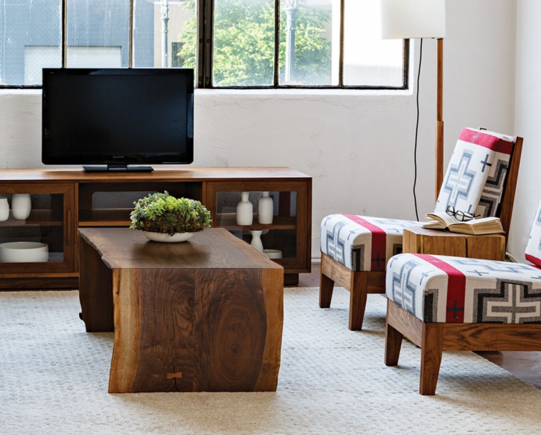 Live-edge coffee table featured with Slipper chairs, and Modern Metolius