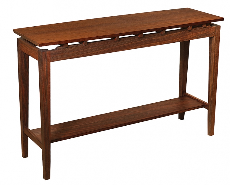 Hochberg Entry Table in Western Walnut with Western Walnut Risers