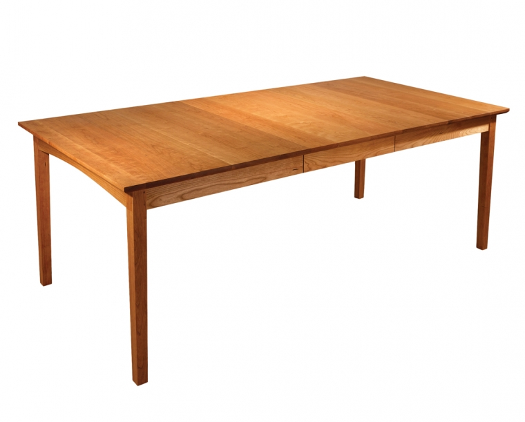 Shaker Style Dining Table in Cherry, shown with One Leaf