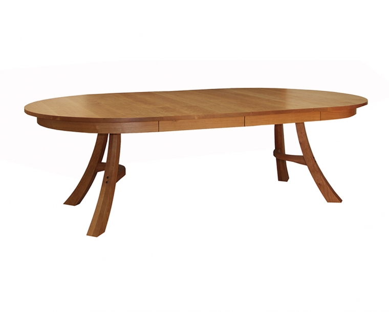 Kyoto Dining Table in Cherry, shown with Two Leaves