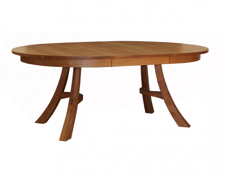 Kyoto Dining Table in Cherry, shown with One Leaf