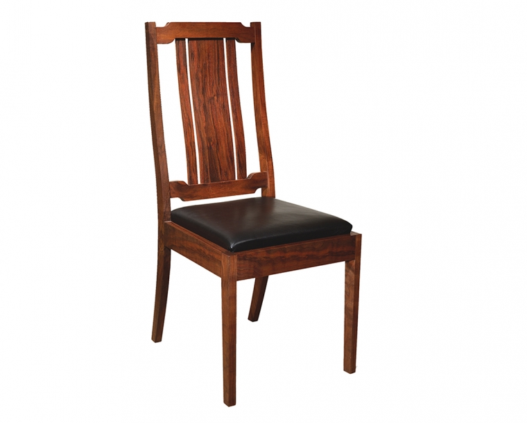 Kelly Side Chair in Western Walnut with Black Leather