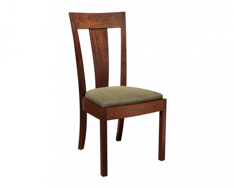 V-Back Side Chair in Western Walnut with COM Fabric