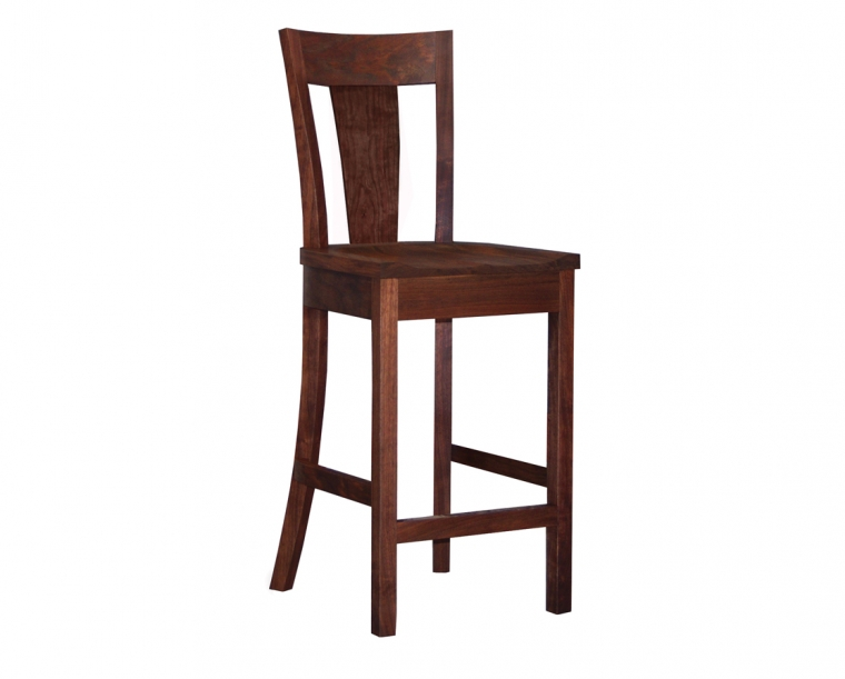 V-back bar stool in Western Walnut